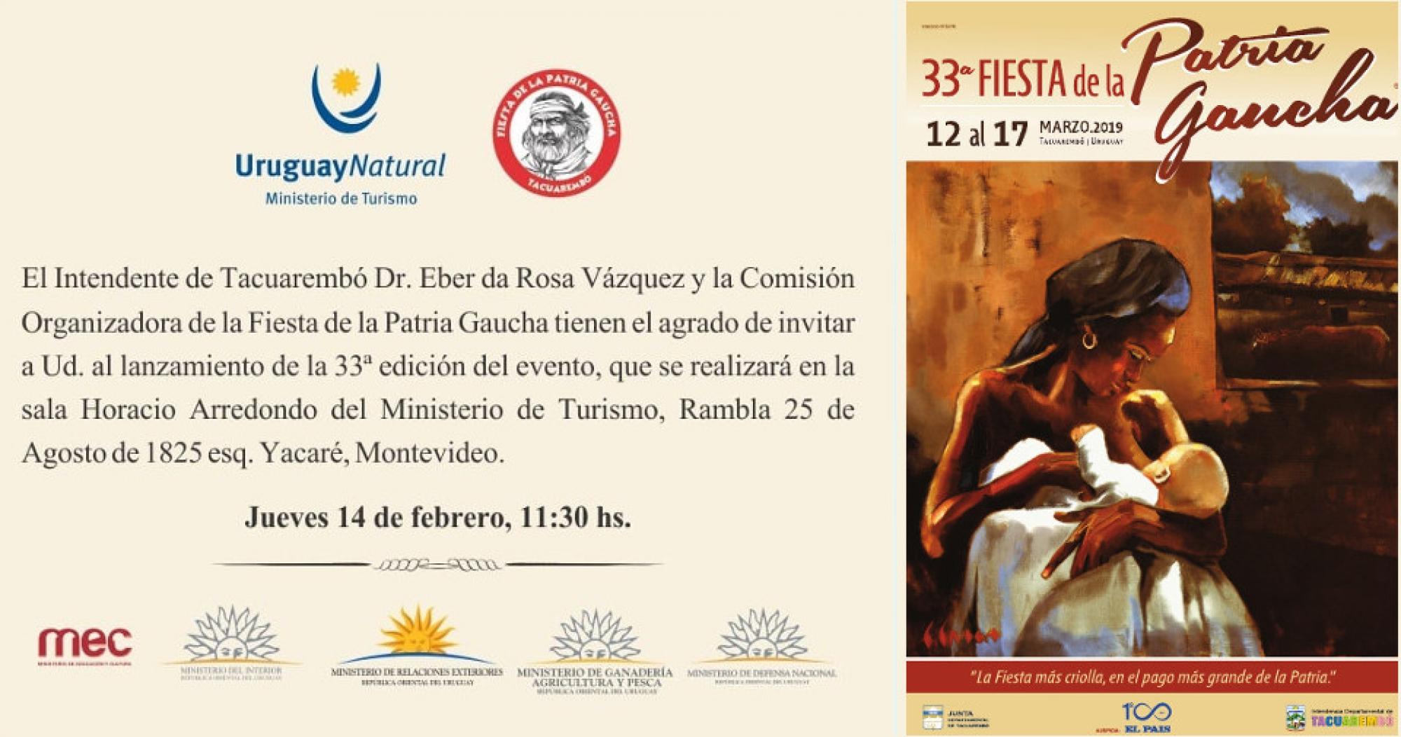 Lanzamiento de la 33a. Fiesta de la Patria Gaucha en Montevideo